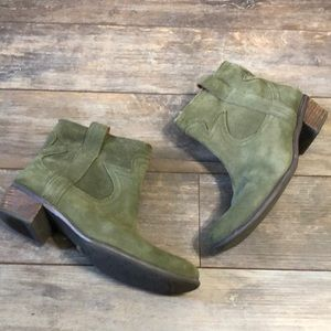 Lucky Brand Olive Green Western Style Ankle Boots
